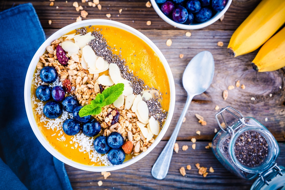 Colorful Smoothie Bowl with Blueberries